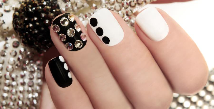 black and white gel nails look healthy and strong